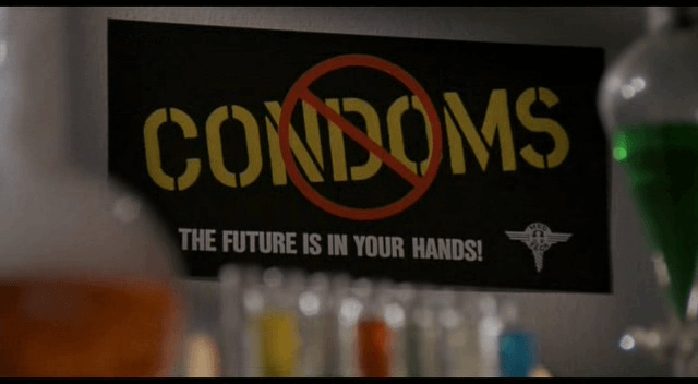 Hell comes to frogtown no condoms sign