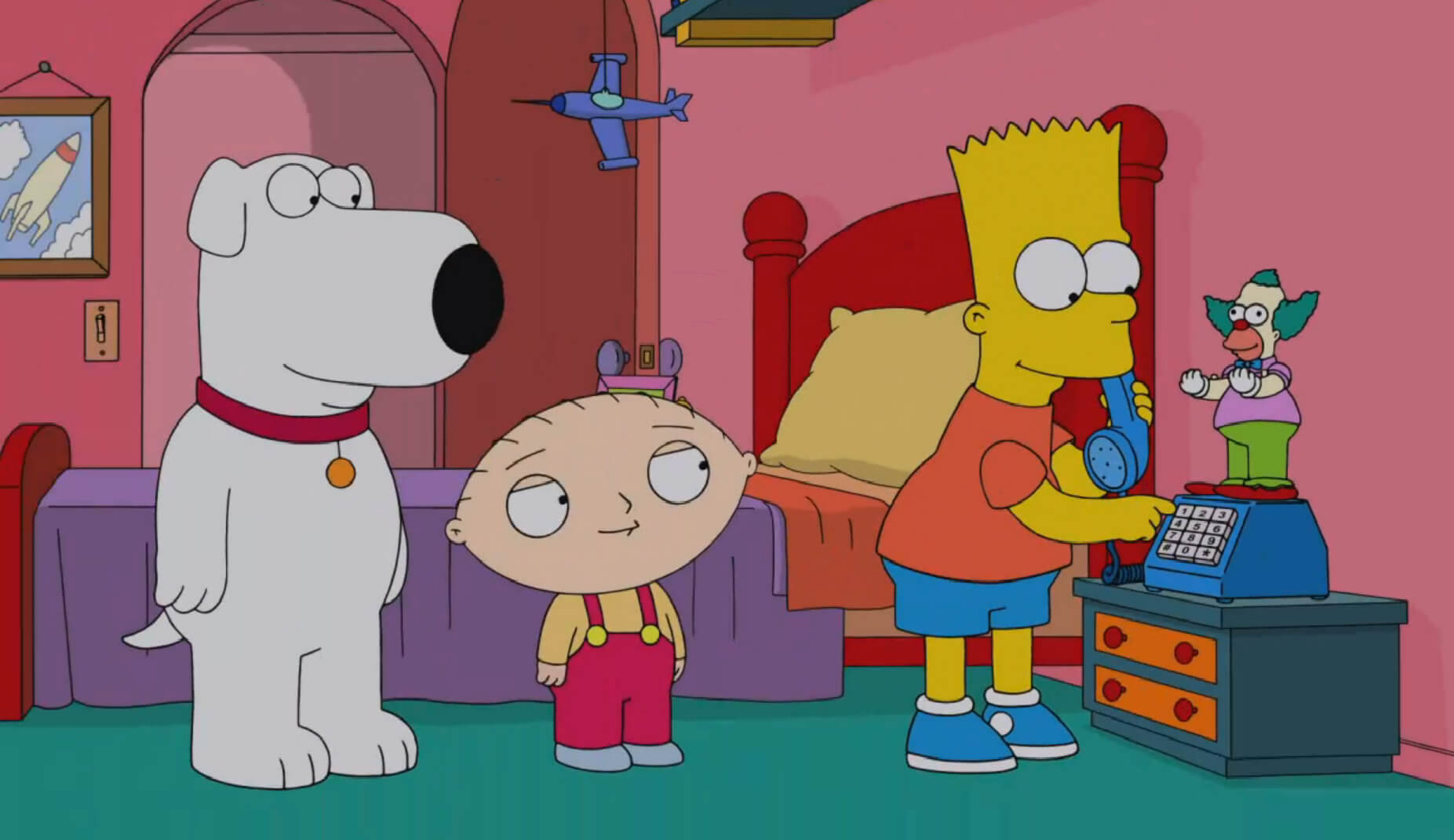 simpsons-family-guy-comic-con-brian-stewie-bart-laser-time