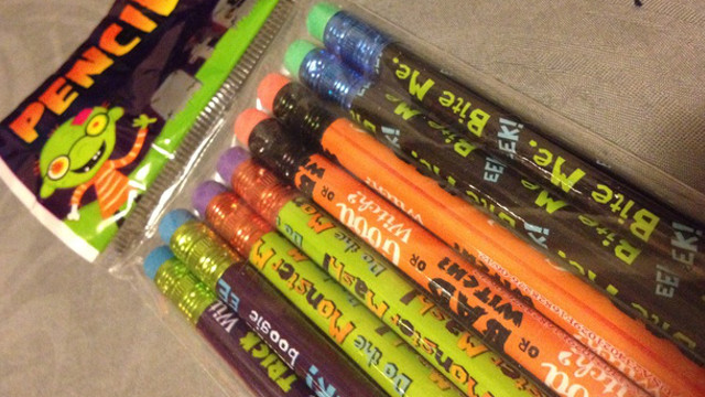 halloween candy, laser time, pencils