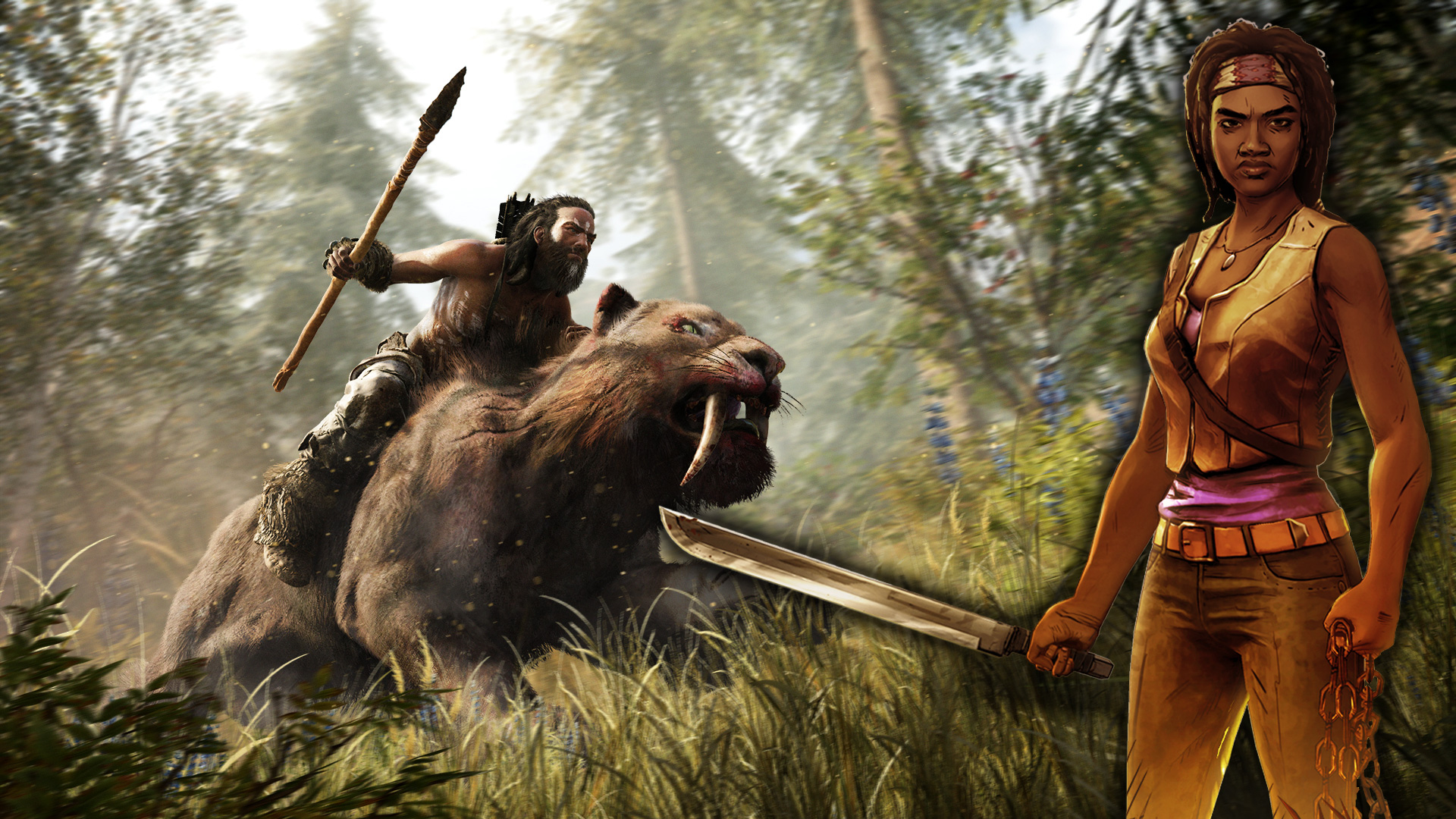 far-cry-primal-the-walkind-dead-michonne-laser-time